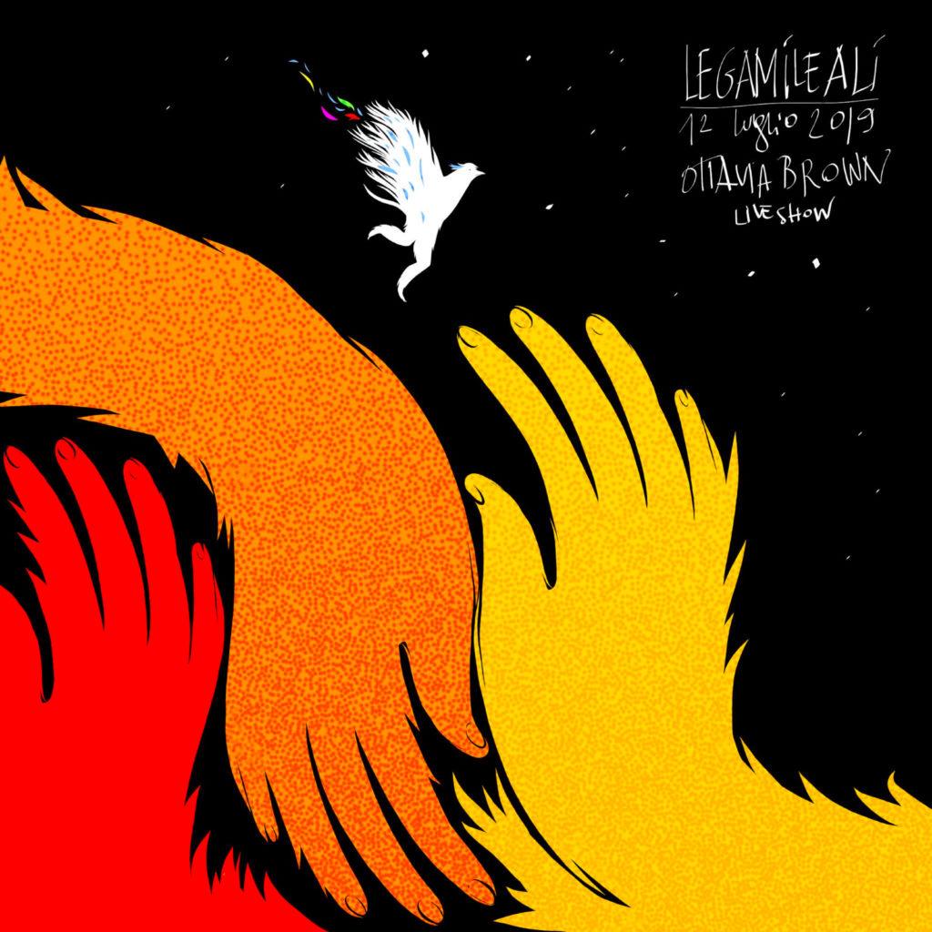 Tre mani colorate si sfiorano in una notte buia e stellata. In lontananza un grifone bianco apre le ali, perdendo un po' di piume colorate.